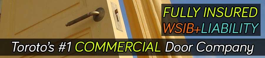 A wooden commercial door frame