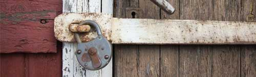 Lock on a commercial wooden door