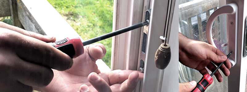 A glass patio door handle repair project